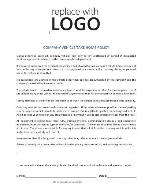 company driving policy template - company vehicle take home policy cr service company